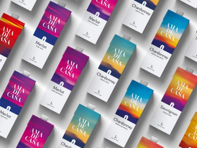 Packaging design for AMA DE CASA wine brand.